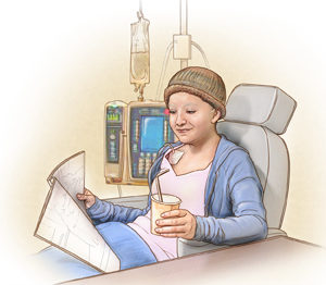 Adolescent girl with central line having chemotherapy SOURCE: Based on Cheol-sa Kim sketch