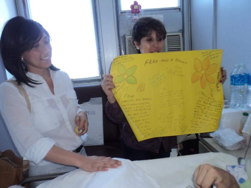 Cartaz que eu e minha mãe fizemos para a Fran